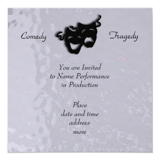 Comedy and Tragedy Black Masks Shimmer Invitation