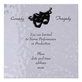 Comedy and Tragedy Black Masks Shimmer Invitation