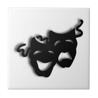 Comedy and Tragedy Black Masks Tile