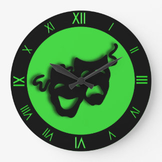 Comedy and Tragedy Cool Green Theater Wall Clock