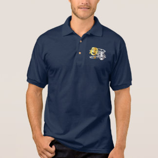 Comedy and Tragedy Drama Masks Gold and Silver Polo Shirt