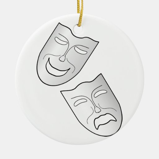 Comedy and Tragedy Faces/Masks Christmas Ornaments