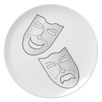 Comedy and Tragedy Faces Masks Party Plate