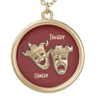 Comedy and Tragedy Gold Masks Necklace