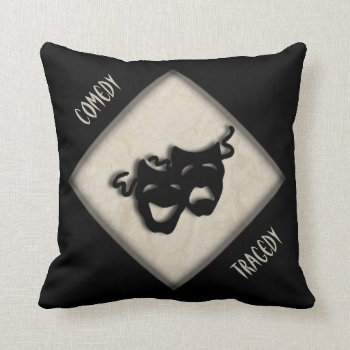 Comedy and Tragedy Greek Mask Theater Throw Pillow