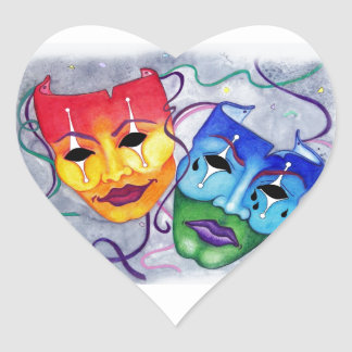 Comedy and Tragedy Heart Sticker