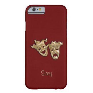 Comedy and Tragedy Maroon Theater Monogram iPhone 6 Case