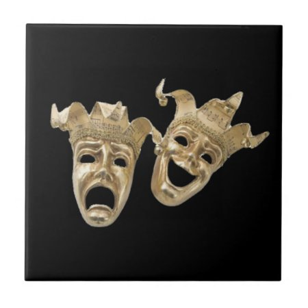 Comedy and Tragedy Masks R Black Tile