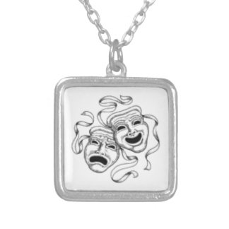 Comedy and Tragedy Masks Silver Plated Necklace