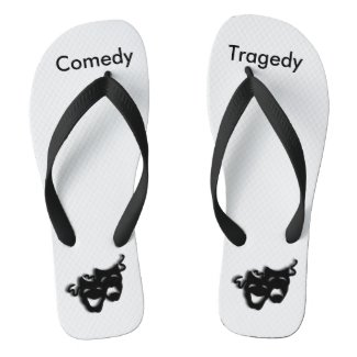 Comedy and Tragedy Masks Theater Flip Flops