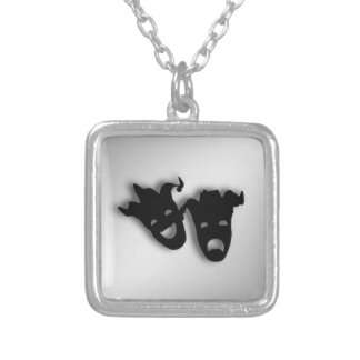 Comedy and Tragedy  Masks Theater Silver Plated Necklace