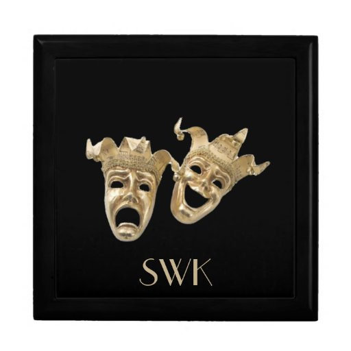 Comedy and Tragedy Monogram Mask Box Trinket Box