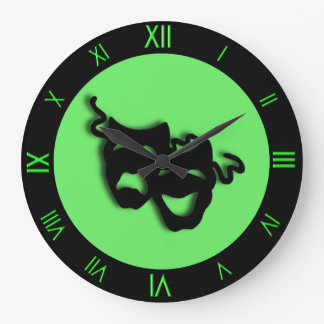 Comedy and Tragedy Neon Green Theater Wall Clock