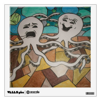 Comedy and Tragedy Octopi Wall Decal. Wall Decal