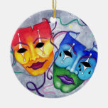 Comedy and Tragedy Double-Sided Ceramic Round Christmas Ornament