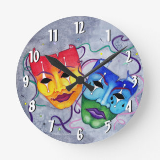 Comedy and Tragedy Round Wall Clock