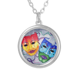 Comedy and Tragedy Silver Plated Necklace