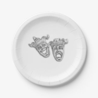 Comedy and Tragedy Silver Theater Paper Plate