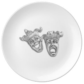 Comedy and Tragedy Silver Theater Porcelain Plate