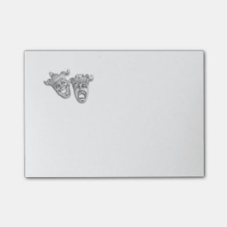 Comedy and Tragedy Silver Theater Post-it Notes