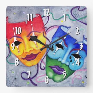Comedy and Tragedy Square Wall Clock