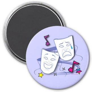 Comedy and Tragedy Stylized Drama Masks 3 Inch Round Magnet