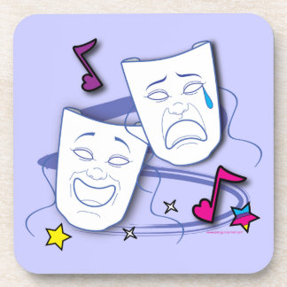 Comedy and Tragedy Stylized Drama Masks Beverage Coaster