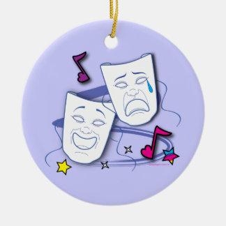 Comedy and Tragedy Stylized Drama Masks Ceramic Ornament