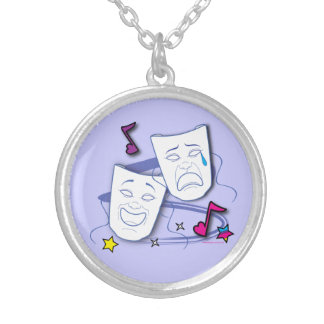 Comedy and Tragedy Stylized Drama Masks Round Pendant Necklace