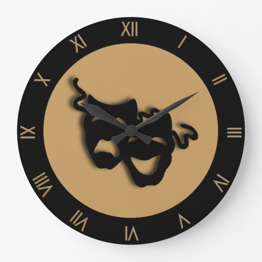 Comedy and Tragedy Tan Brown Theater Wall Clock