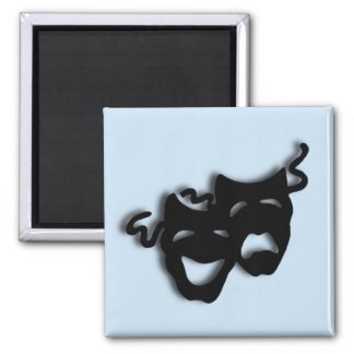 Comedy and Tragedy Theater Blue 2 Inch Square Magnet