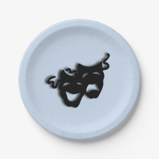 Comedy and Tragedy Theater Blue Paper Plate