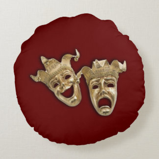 Comedy and Tragedy Theater  Dark Red Round Pillow