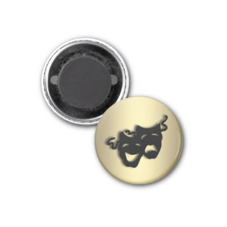 Comedy and Tragedy Theater Gold 1 Inch Round Magnet