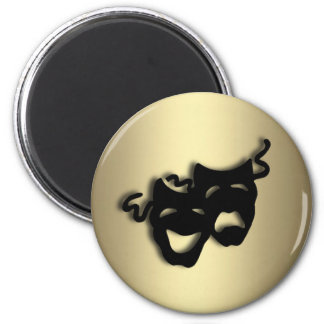 Comedy and Tragedy Theater Gold 2 Inch Round Magnet