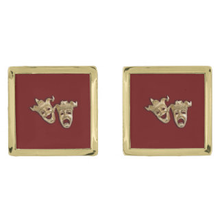 Comedy and Tragedy Theater Gold Cufflinks