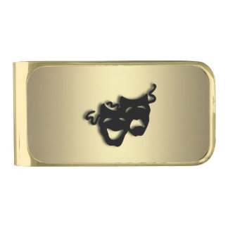 Comedy and Tragedy Theater Gold Gold Finish Money Clip