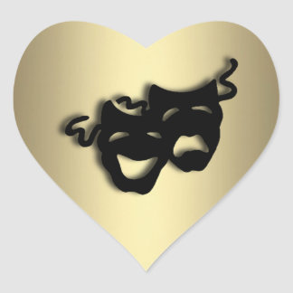 Comedy and Tragedy Theater Gold Heart Sticker