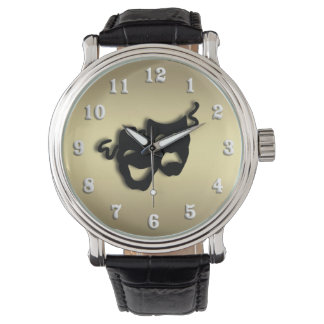 Comedy and Tragedy Theater Gold Wristwatch