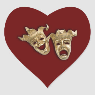 Comedy and Tragedy Theater Heart Sticker