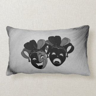 Comedy and Tragedy Theater Jester Masks Silver Lumbar Pillow