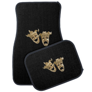 Comedy and Tragedy Theater Masks Black Car Floor Mat