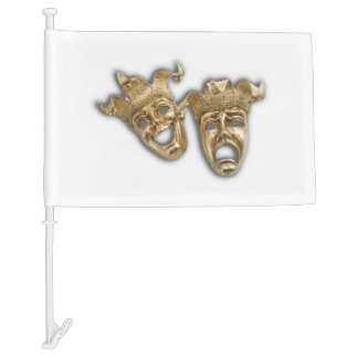 Comedy and Tragedy Theater Masks Black Car Flag