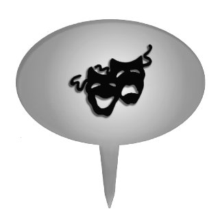 Comedy and Tragedy Theater Masks Cake Topper