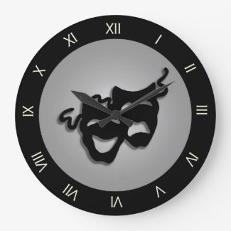 Comedy and Tragedy Theater Masks Clocks