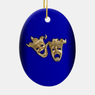 Comedy and Tragedy Theater Masks Cobalt Ceramic Ornament