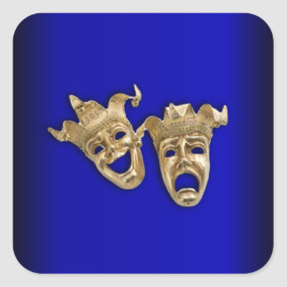 Comedy and Tragedy Theater Masks Cobalt Square Sticker