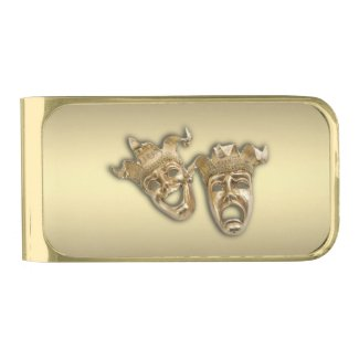 Comedy and Tragedy Theater Masks Gold Finish Money Clip