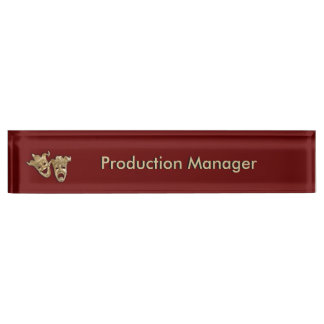 Comedy and Tragedy Theater Masks Maroon Nameplate