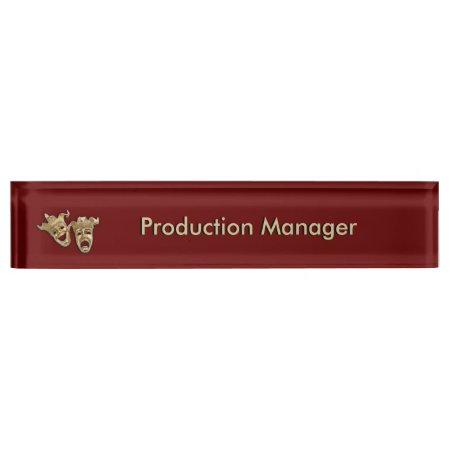 Comedy and Tragedy Theater Masks Maroon Desk Nameplates